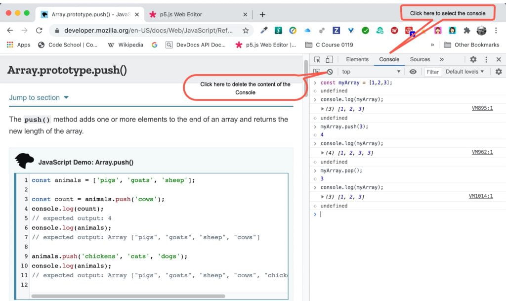 How to use the Chrome Developer Tool console to try out Javascript code snippets.